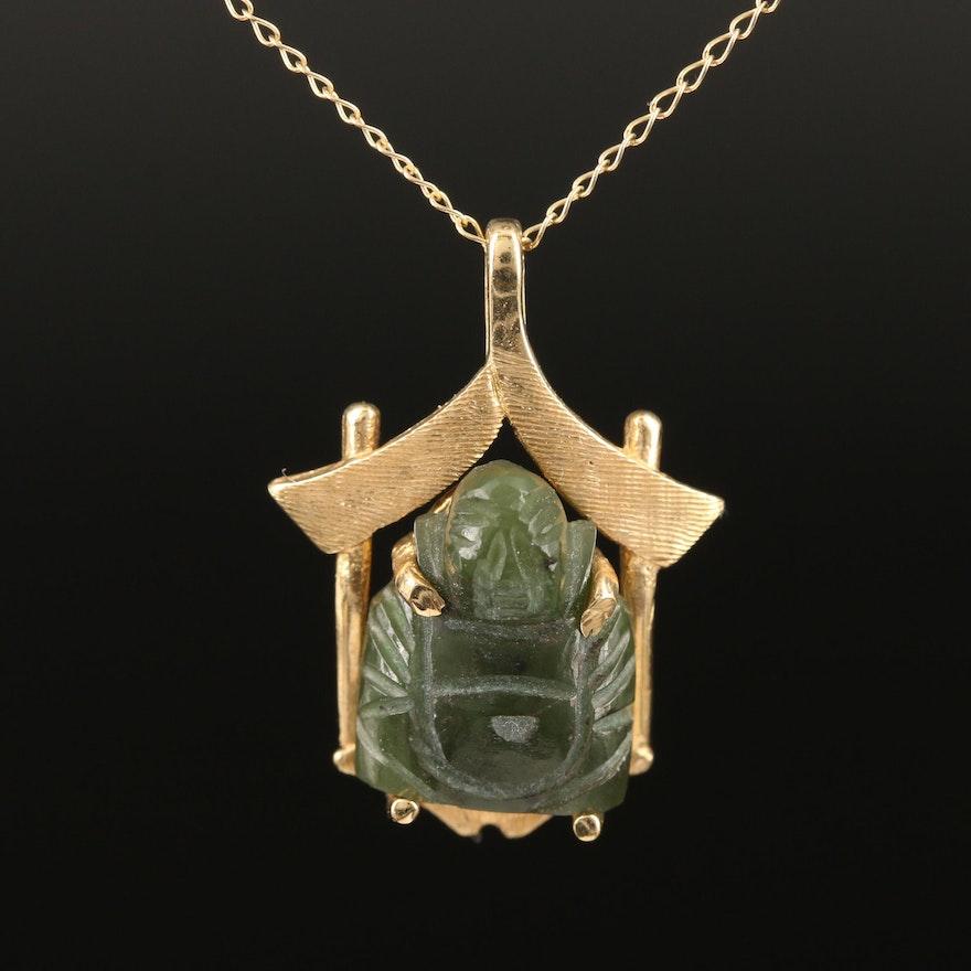 14K Nephrite Sitting Buddha Pendant Necklace