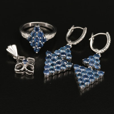 Sterling Silver Sapphire and Zircon Ring, Pendant and Drop Earrings