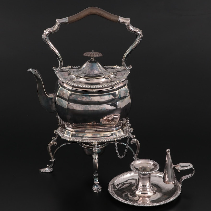 Alexander Clark English Silver Plate Kettle on Stand and Sheffield Chamberstick