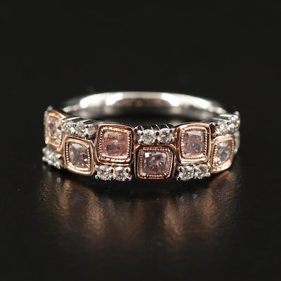18K 1.21 CTW Diamond Band with Rose Gold Accent