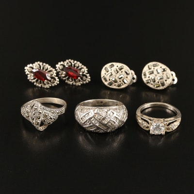 Sterling Rings and Earrings with Garnet and Marcasite