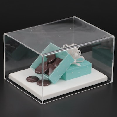 Decorative Turquoise Candy Box Display in Acrylic Case, 1993