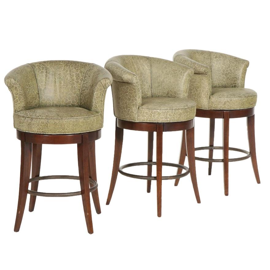 Three Contemporary Swaim Swivel Barstools