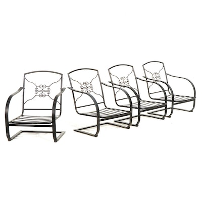 Four Painted Metal Patio Chairs