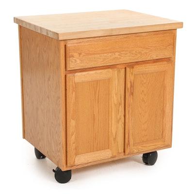 KraftMaid Butcher Block Top Rolling Oak Cabinet