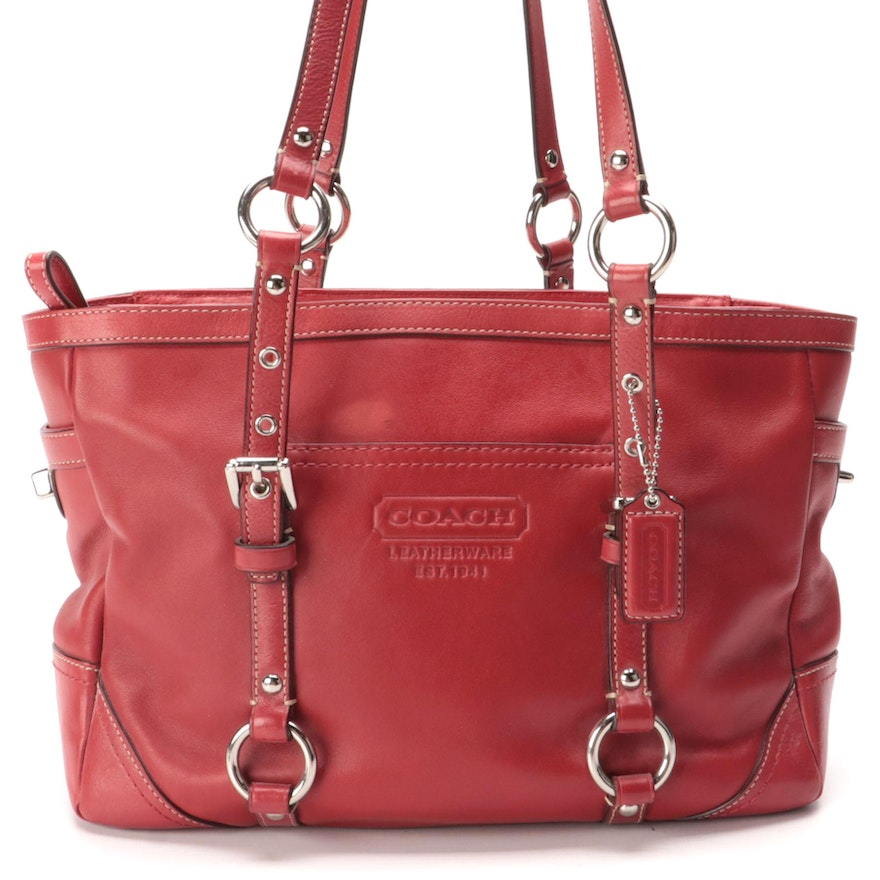 Coach Gallery East West Tote in Red Smooth Leather