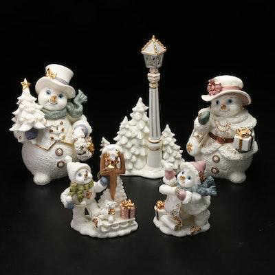 Porcelain Bisque Snowman Figurines