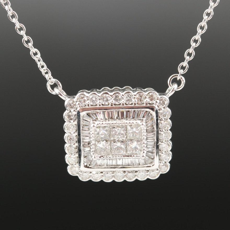 14K 1.21 CTW Diamond Rectangular Pendant Necklace