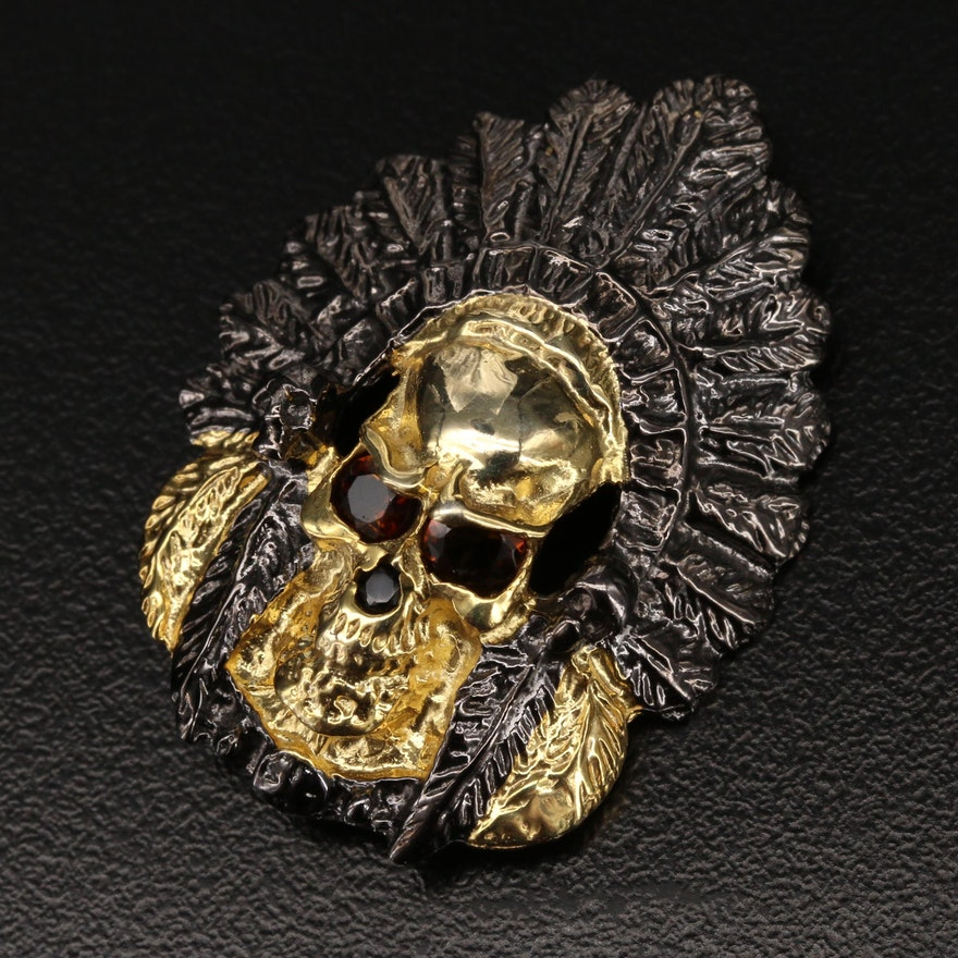Sterling Smoky Quartz Skull with Headdress Brooch