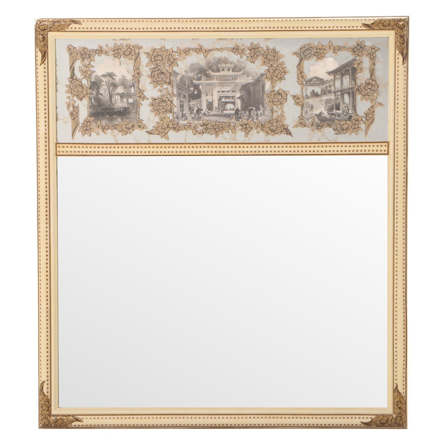 Painted, Decoupaged, and Chinoiserie-Decorated Mirror, 20th Century