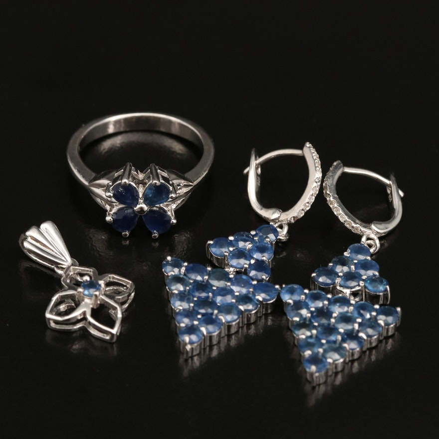 Sterling Silver Sapphire Ring, Pendant and Drop Earrings