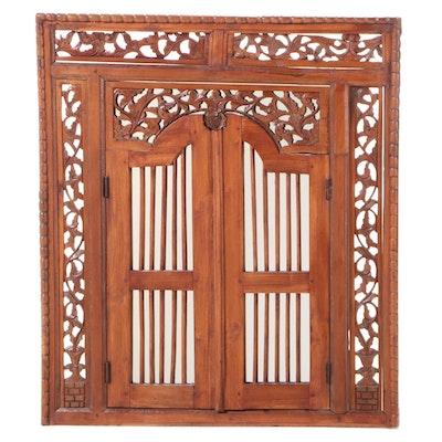 Asian Carved Teak Mirror-Back Window Panel