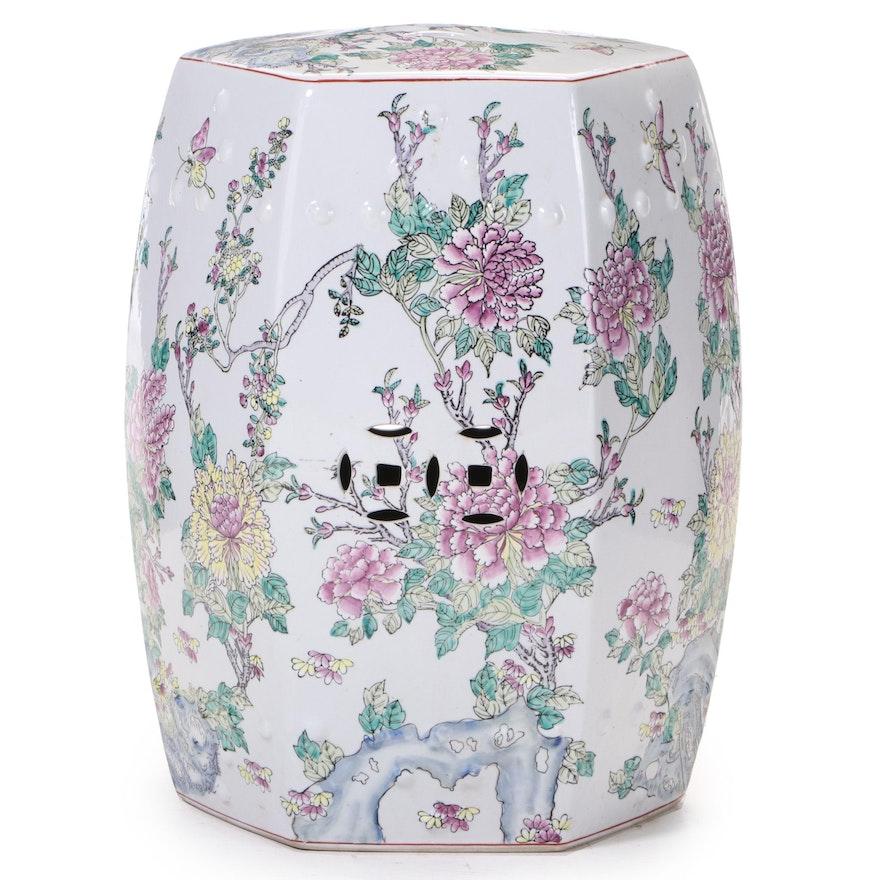 Chinese Style Polychrome-Glazed Ceramic Garden Stool