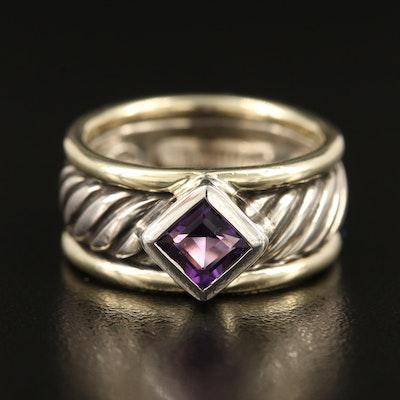 David Yurman Sterling Amethyst Ring with 14K