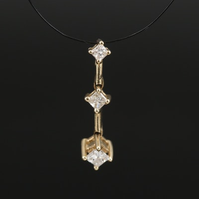 10K Diamond Tiered Drop Pendant
