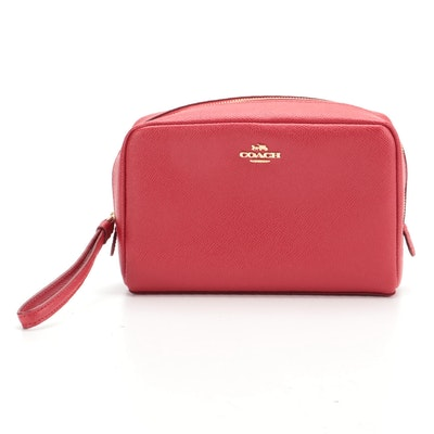 Coach Boxy Cosmetic Case in Red Cross Grain Leather