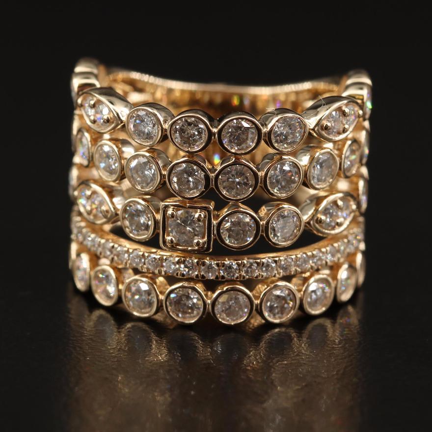 14K 2.91 CTW Diamond Multi-Row Ring