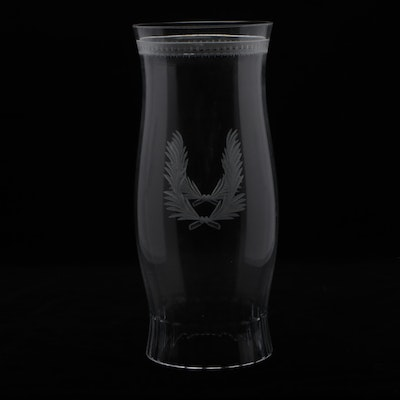 William Yeoward Neoclassical Style Etched Crystal Hurricane