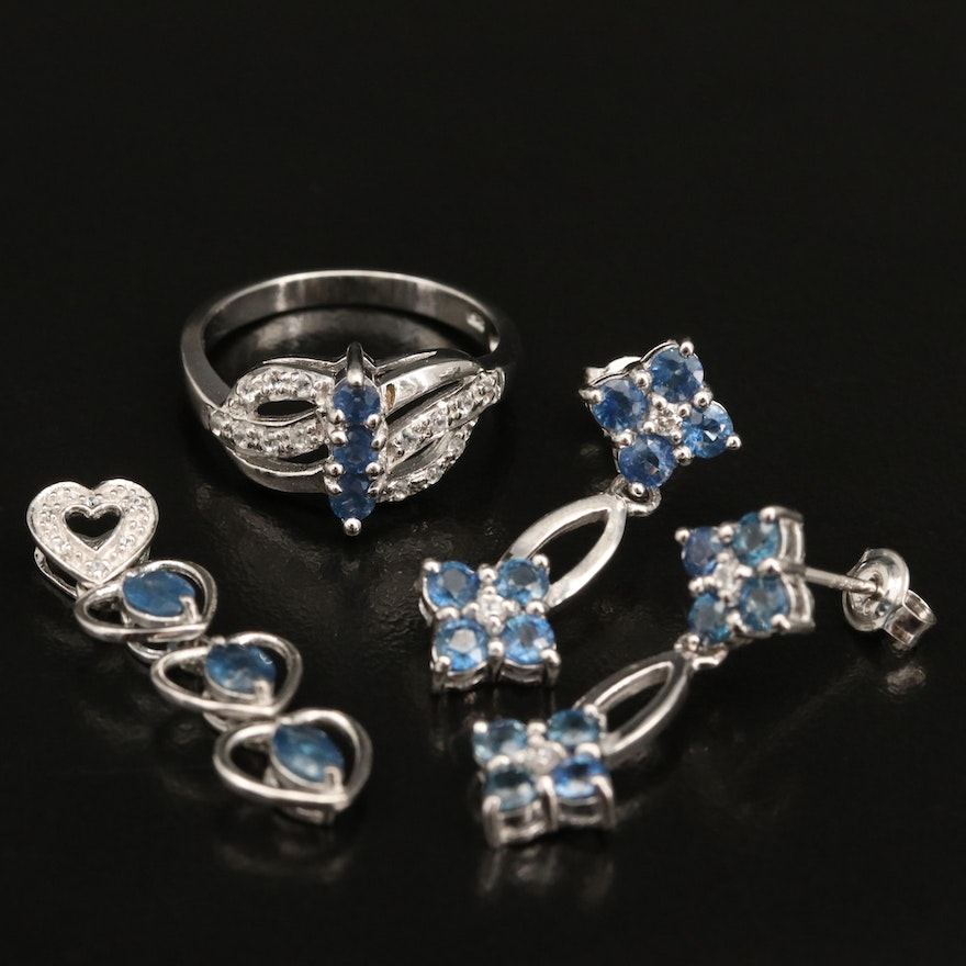 Sterling Sapphire and Zircon Pendant, Ring and Earrings