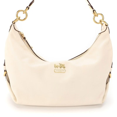 Coach Madison Hailey Hobo Bag in White Leather