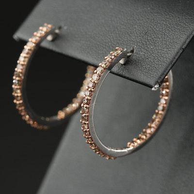 Sterling Silver 2.05 CTW Diamond Inside-Out Hoop Earrings