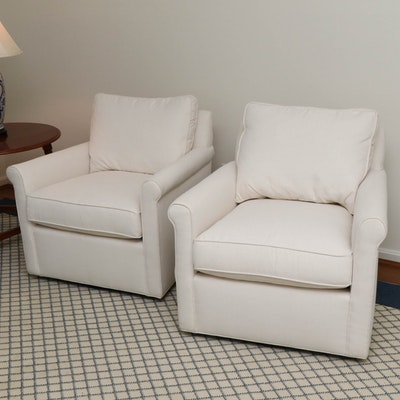 """Pottery Barn """"Tyler"""" Herringbone Upholstered Swivel Armchairs with Down Seats"""