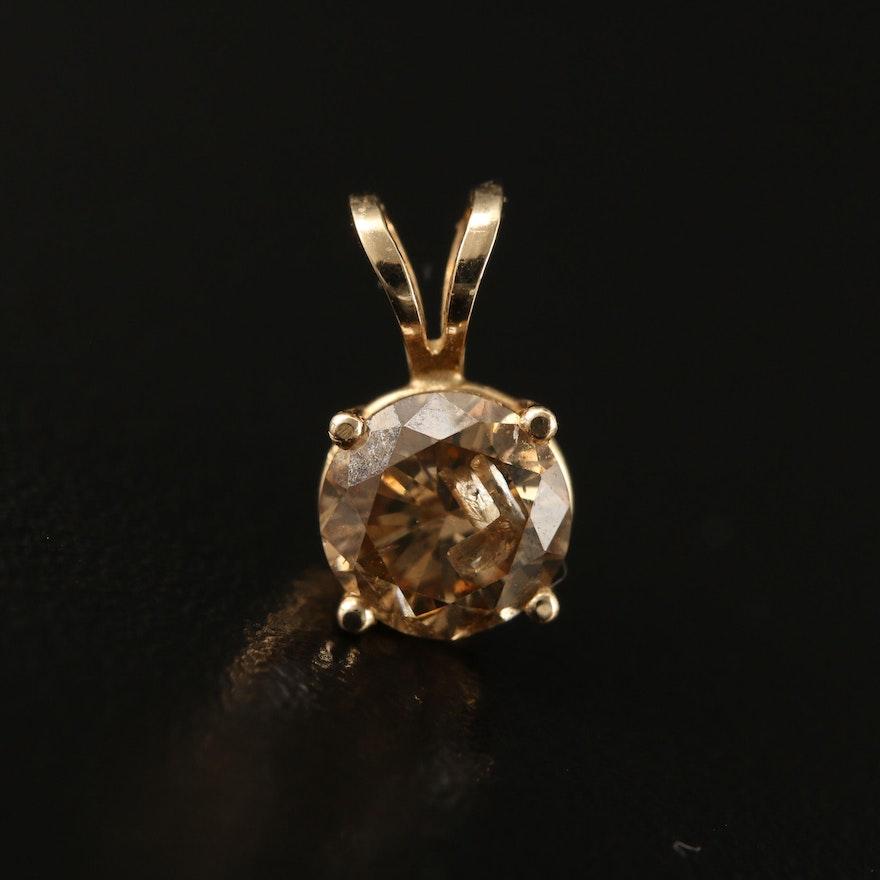 14K 0.76 CT Brown Diamond Solitaire Pendant