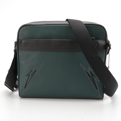 Coach Charles Camera Bag in Green and Black Pebbled Leather