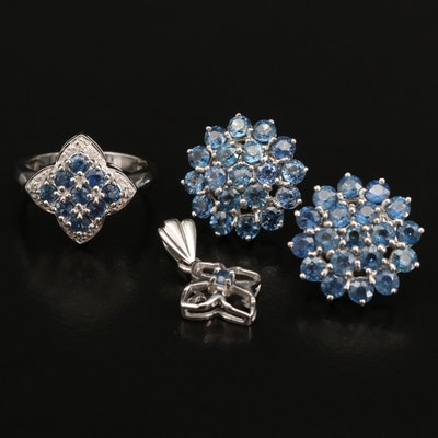 Sterling Pendant, Ring and Earrings Including Sapphire and Zircon