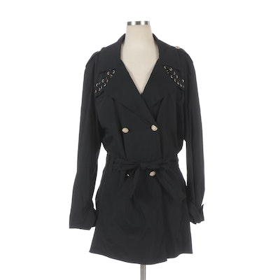 SoCa by St. John Double-Breasted Trench Coat with Lace-Up Details