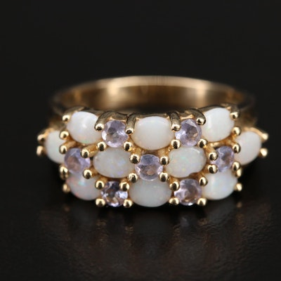 14K Opal and Tanzanite Cluster Ring