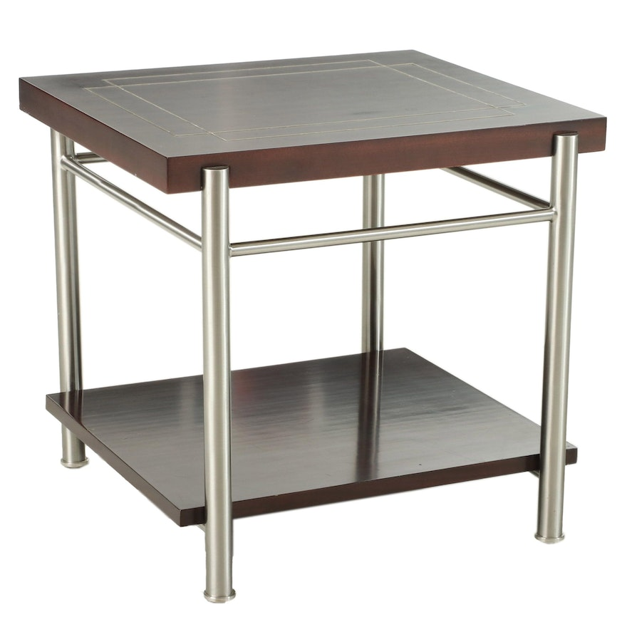 Industrial Style Metal and Mahogany-Stained Inlaid Top Two-Tier Side Table