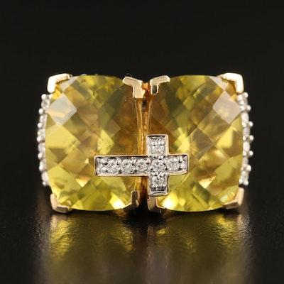 14K Citrine and Diamond Cross Ring