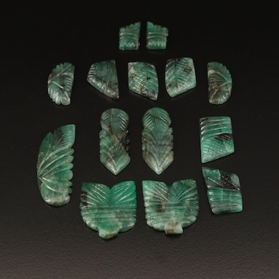 Loose 92.59 CTW Carved Emeralds