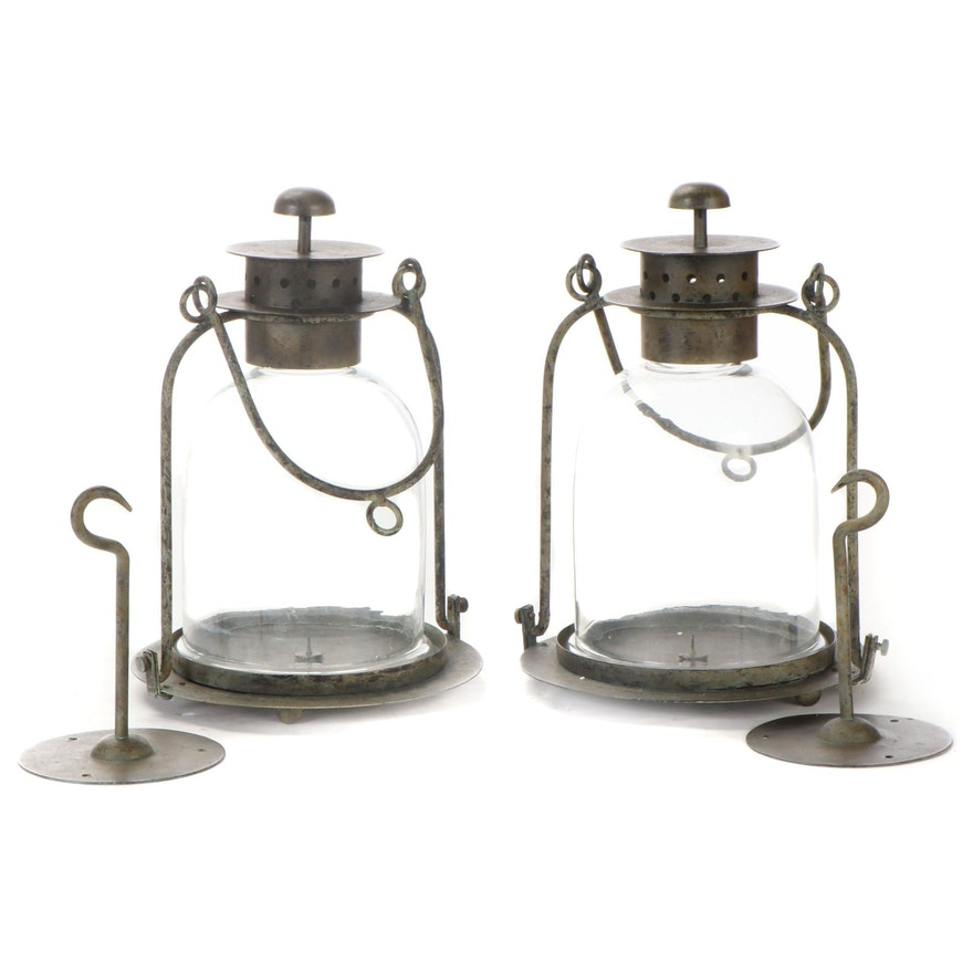 Pair of Metal and Glass Hanging Candle Lanterns
