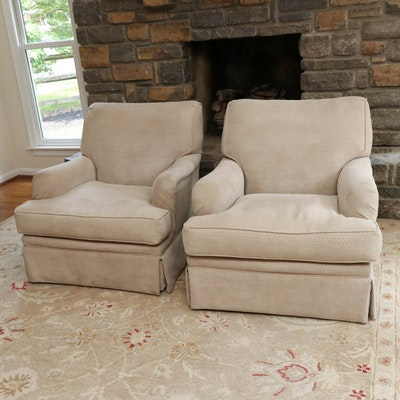 TCS Designs Diamond-Pattern Upholstered Roll Arm Armchairs with Down Seats