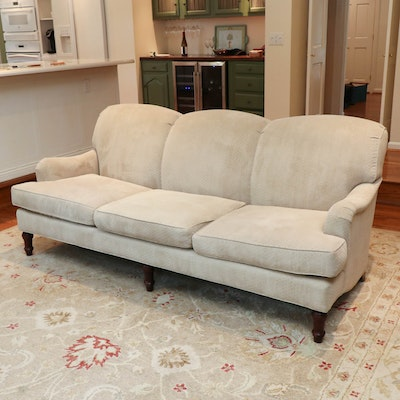 TCS Designs Diamond-Pattern Upholstered Roll Arm Sofa with Down Seats