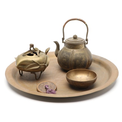 Japanese Gilt Bronze Incense Burner and Other Metal Tableware