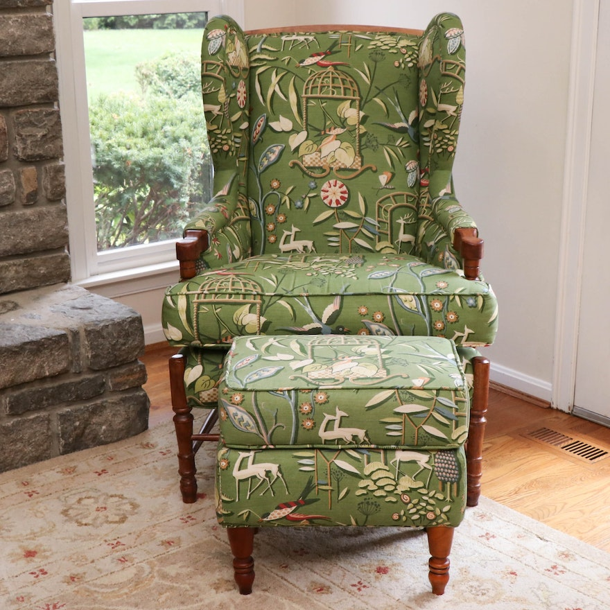 Custom Upholstered Wingback Chair and Ottoman