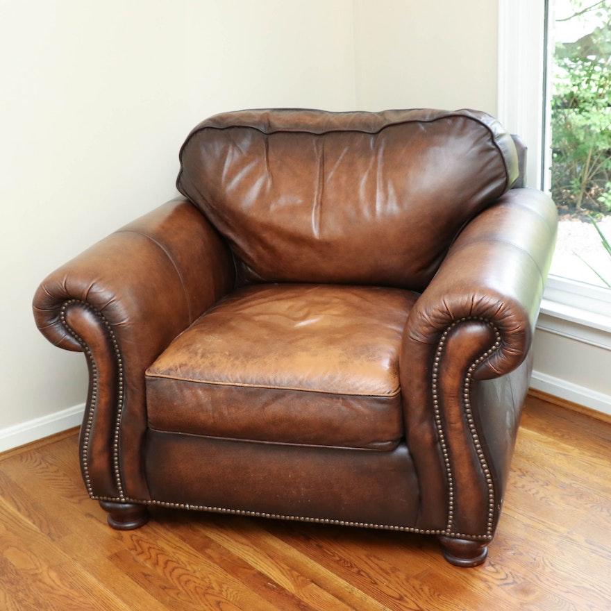 Bernhardt Brass-Tacked Brown Leather Club Chair