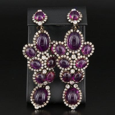 Kenneth Jay Lane Rhinestone and Purple Glass Statement Earrings