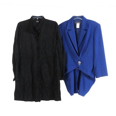 Issey Miyake Royal Blue Jacket and Eileen Fisher Black Jacket
