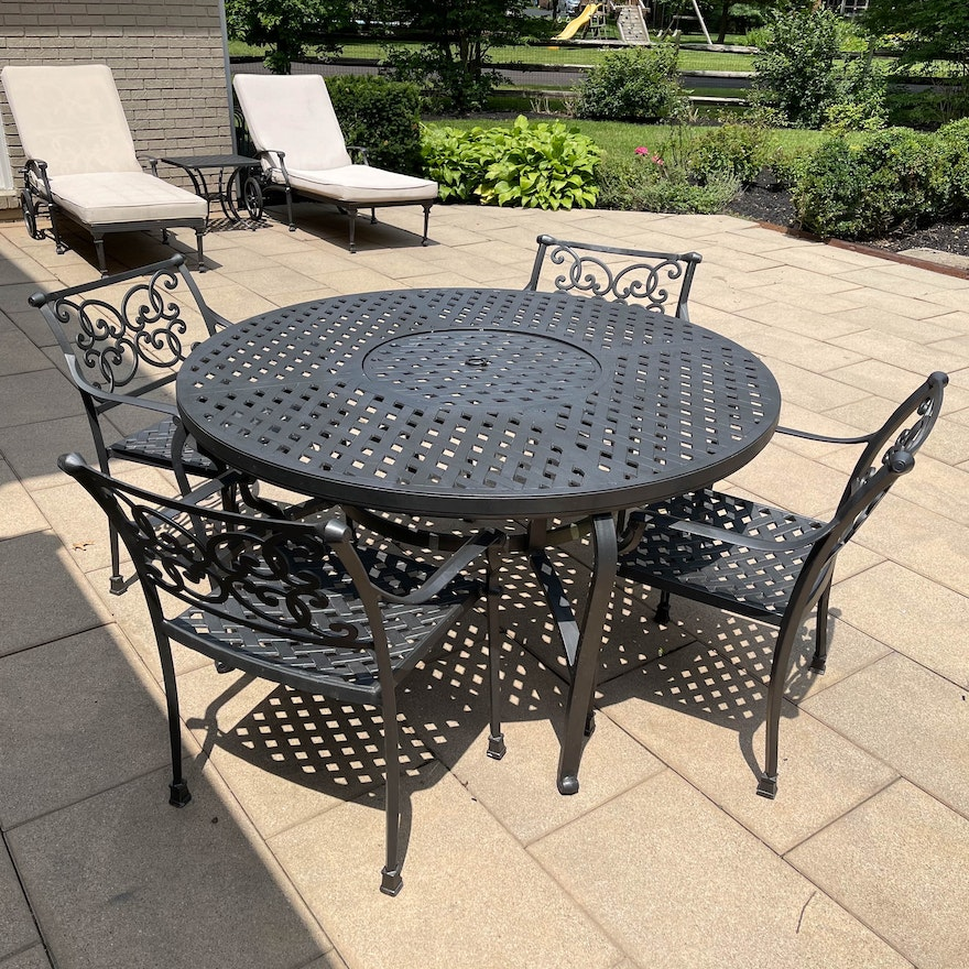 Metal Basketweave and Scroll Patio Dining Table with Chairs