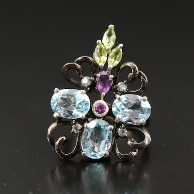 Sterling Silver Topaz, Amethyst and Peridot Ring with Heart Accents