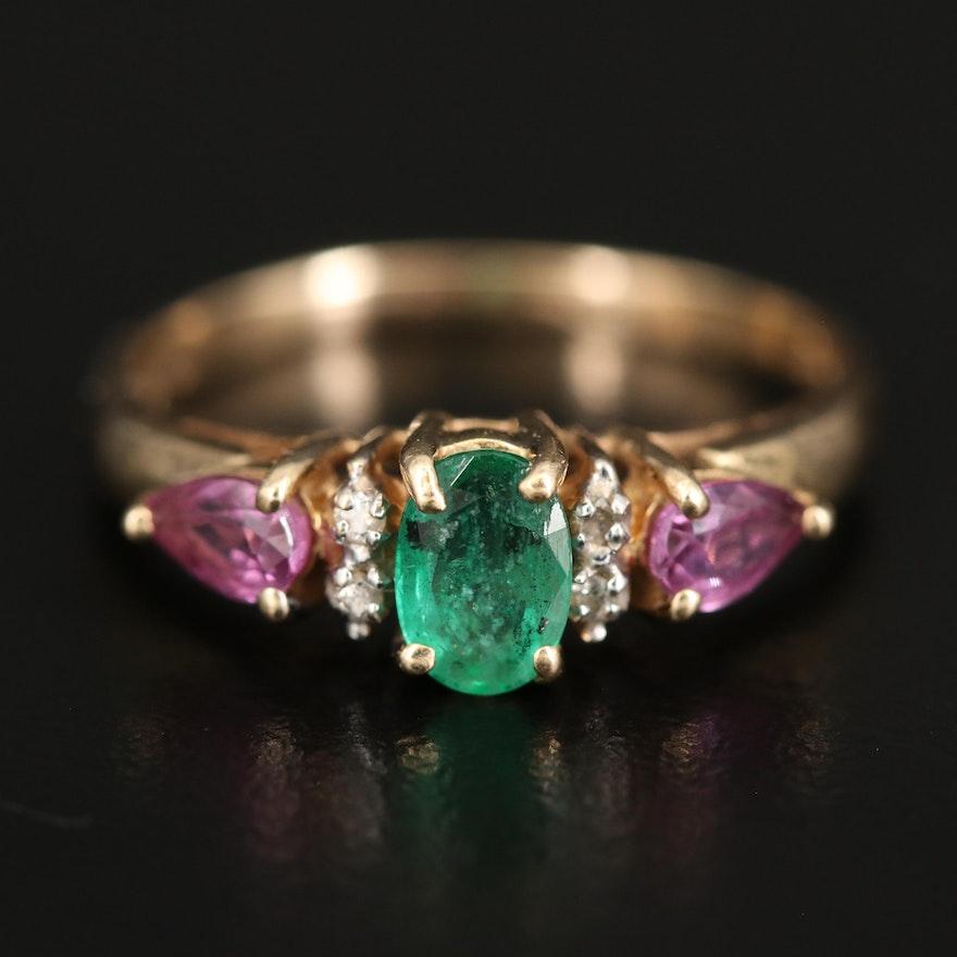 14K Emerald, Sapphire and Diamond Ring