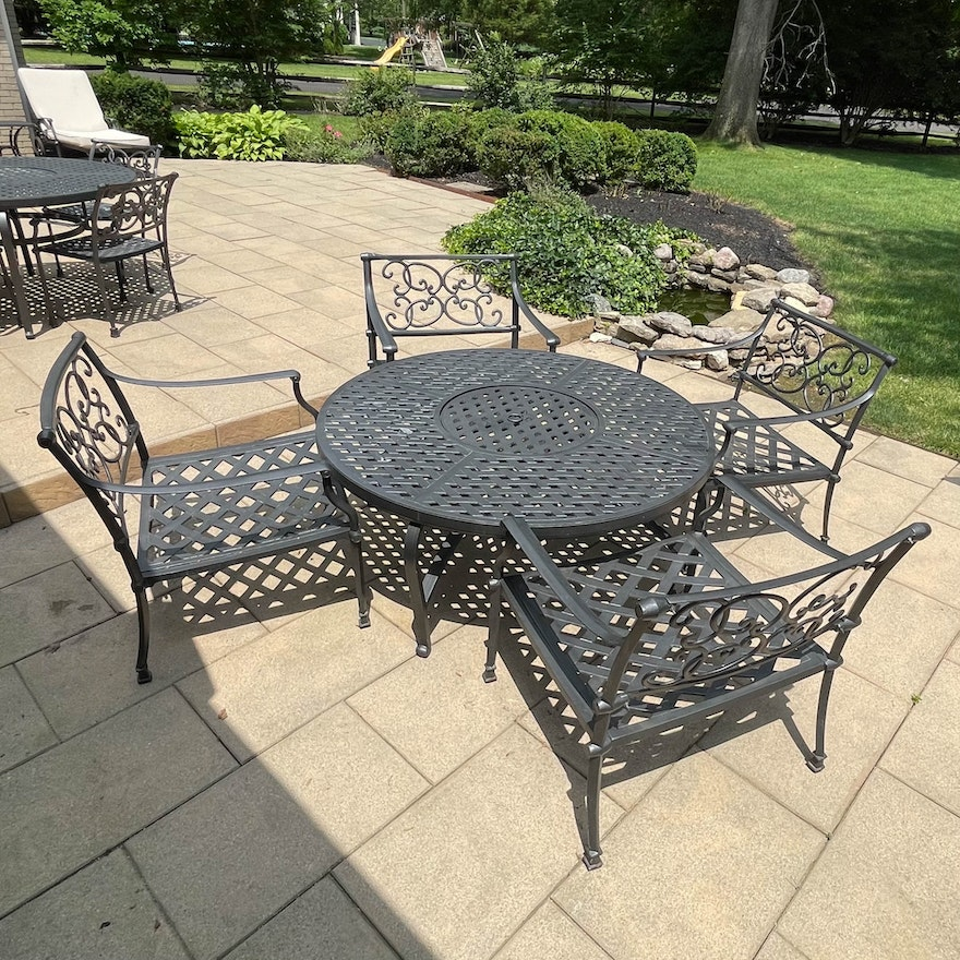 Metal Basketweave and Scroll Armchairs and Table