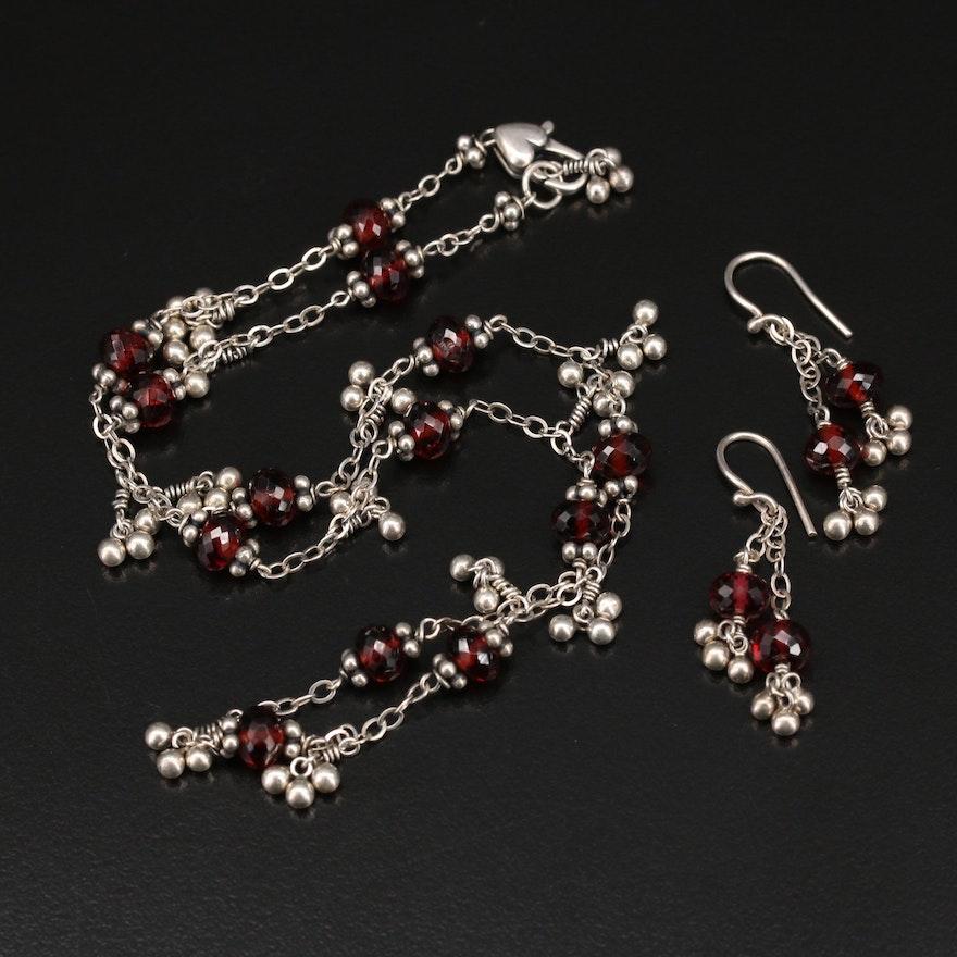 Sterling Garnet Fringe Necklace and Earrings