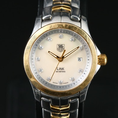 TAG Heuer Link 18K Gold and Stainless Steel Diamond Dial Wristwatch