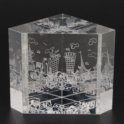 """Steuben Art Glass """"New York City Skyline"""" Paperweight"""