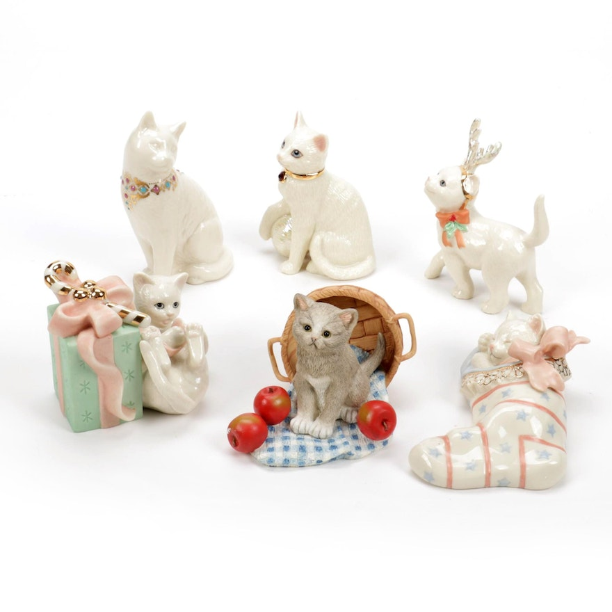 """Lenox """"Christmas Dreams"""", """"Birthstone Kitty"""" and Other Cat Figurines"""